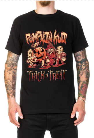 Man with tattoos wearing a black Tee shirt with an image of 4 Trick or treaters marching the Heading says Pumpkin Kult and the foot phrase says trick r' Treat