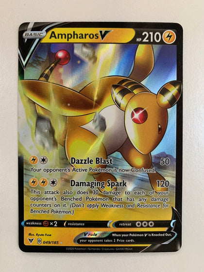 Ampharos V - 049/185 SWSH Vivid Voltage Holo Ultra Rare (M/NM)