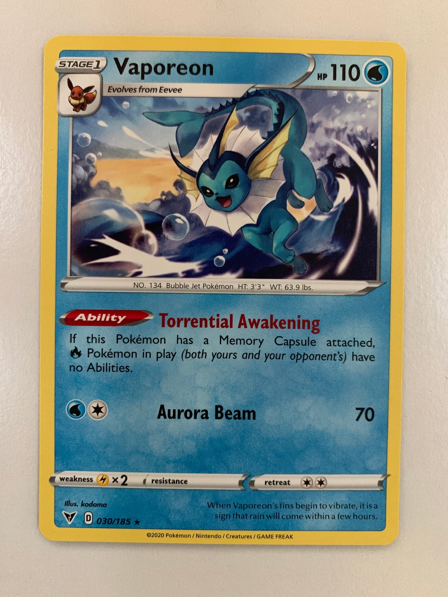 Vaporeon - 030/185 SWSH Vivid Voltage Rare (M/NM)