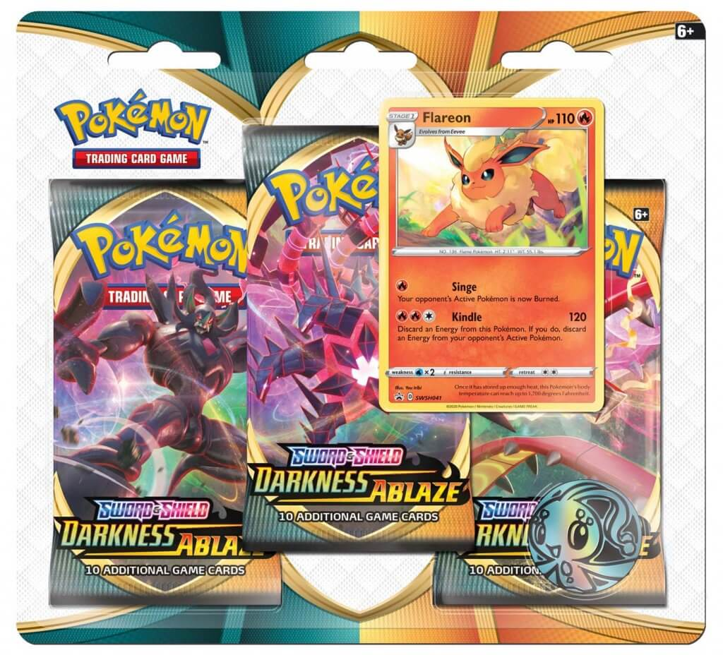 Pokemon TCG: Sword and Shield- Darkness Ablaze Three Booster Blister - Flareon