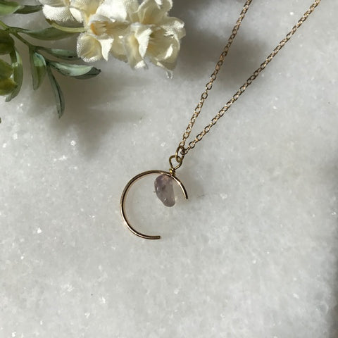 Iris Crescent Moon Necklace