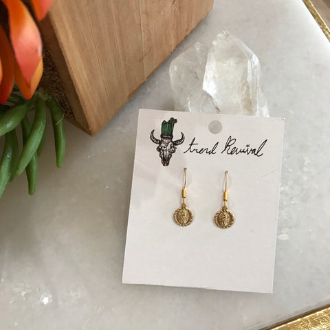 Dainty Mother Mary Earrings