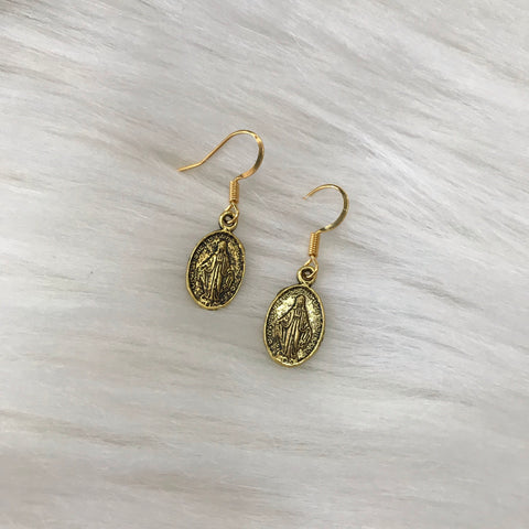 Mother Mary Oval Earrings