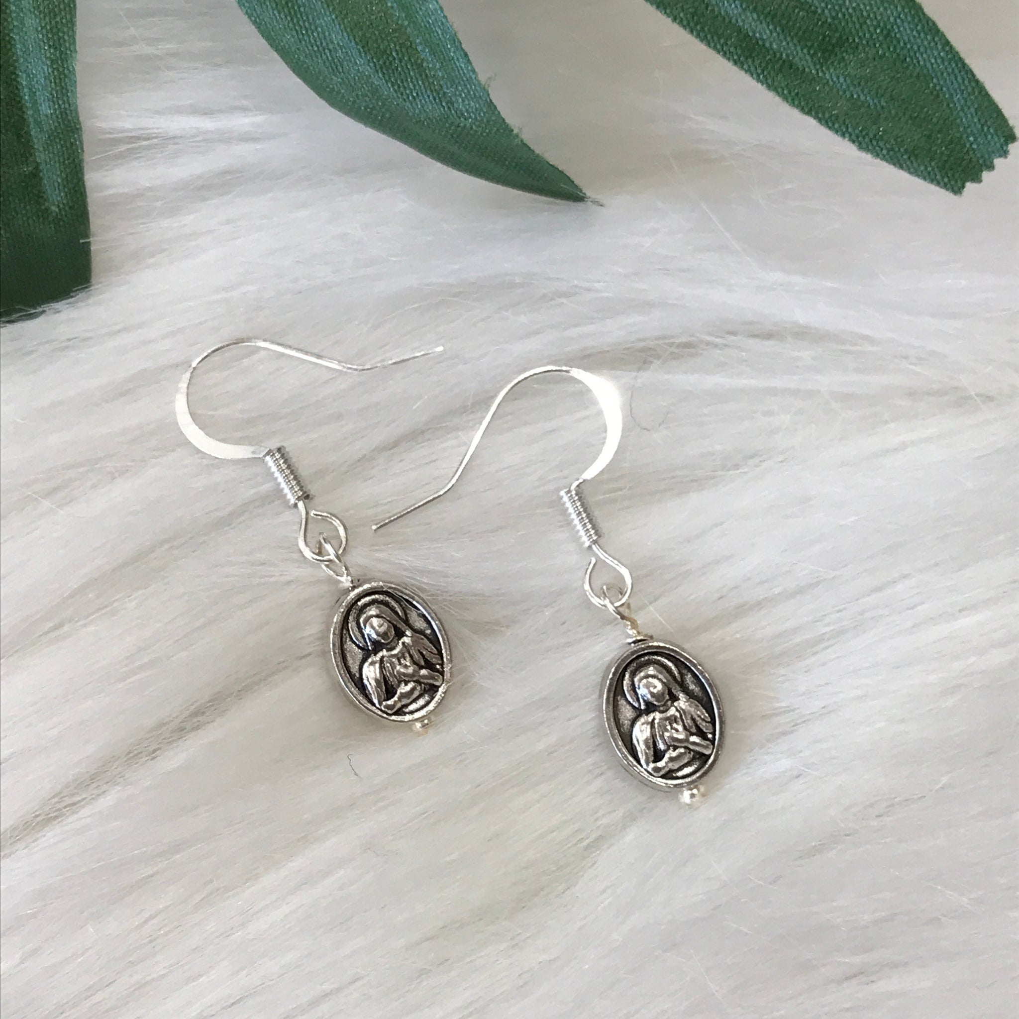Silver Tiny Mother Mary Earrings