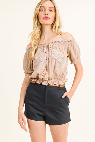 Havana Taupe Frill Top