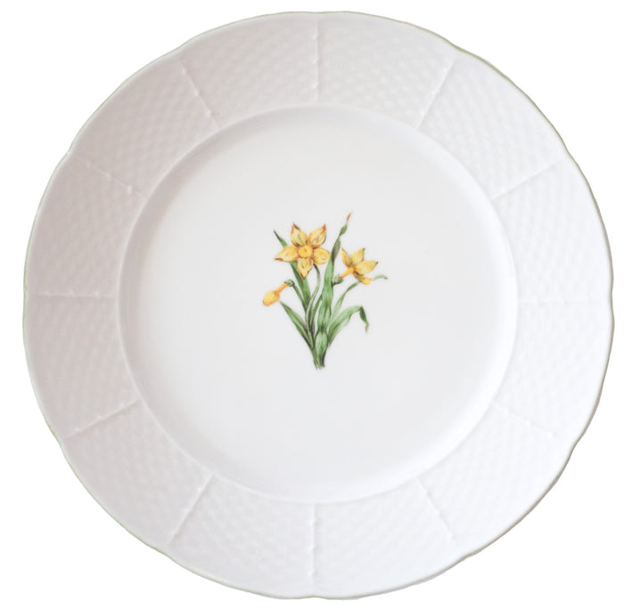 Basket Weave Dinner Plate - Daffodils