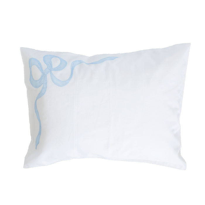 Bow Applique Boudoir Sham - White / Blue