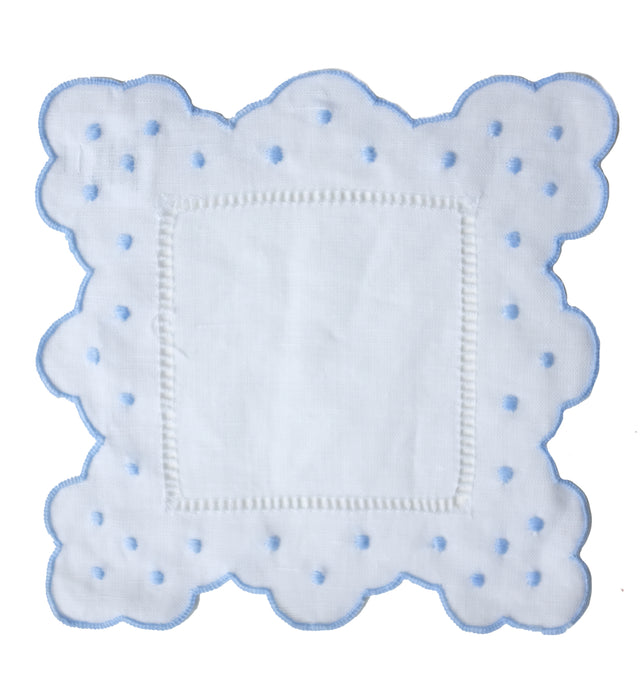 Scallop & Dot Cocktail Napkins - Blue