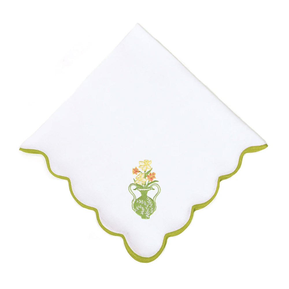 Daffodil on Wave Dinner Napkin