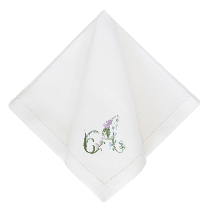 Floral Alphabet Dinner Napkins - White