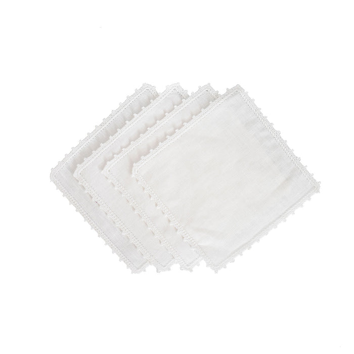 Bella Cocktail Napkins - White