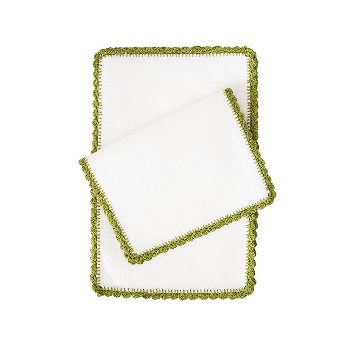 Bella Fold-over Cocktail Napkins - Olive