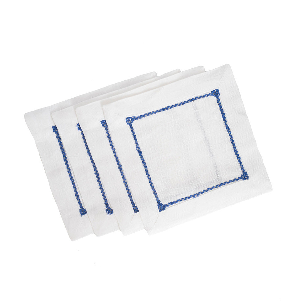 Ladder Stitch Cocktail Napkins - Cobalt
