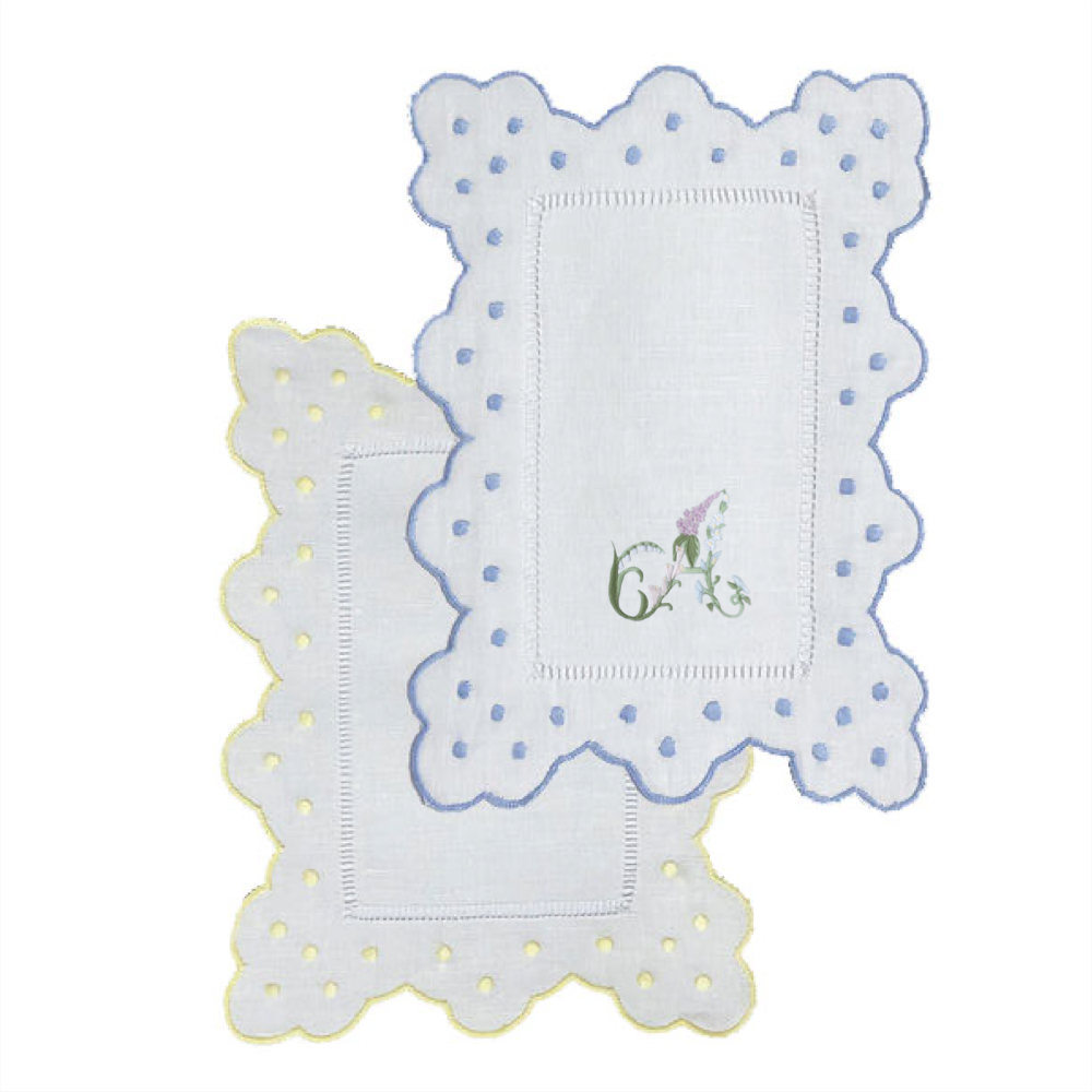 Scallop Dot Cocktail Napkins with Floral Alphabet
