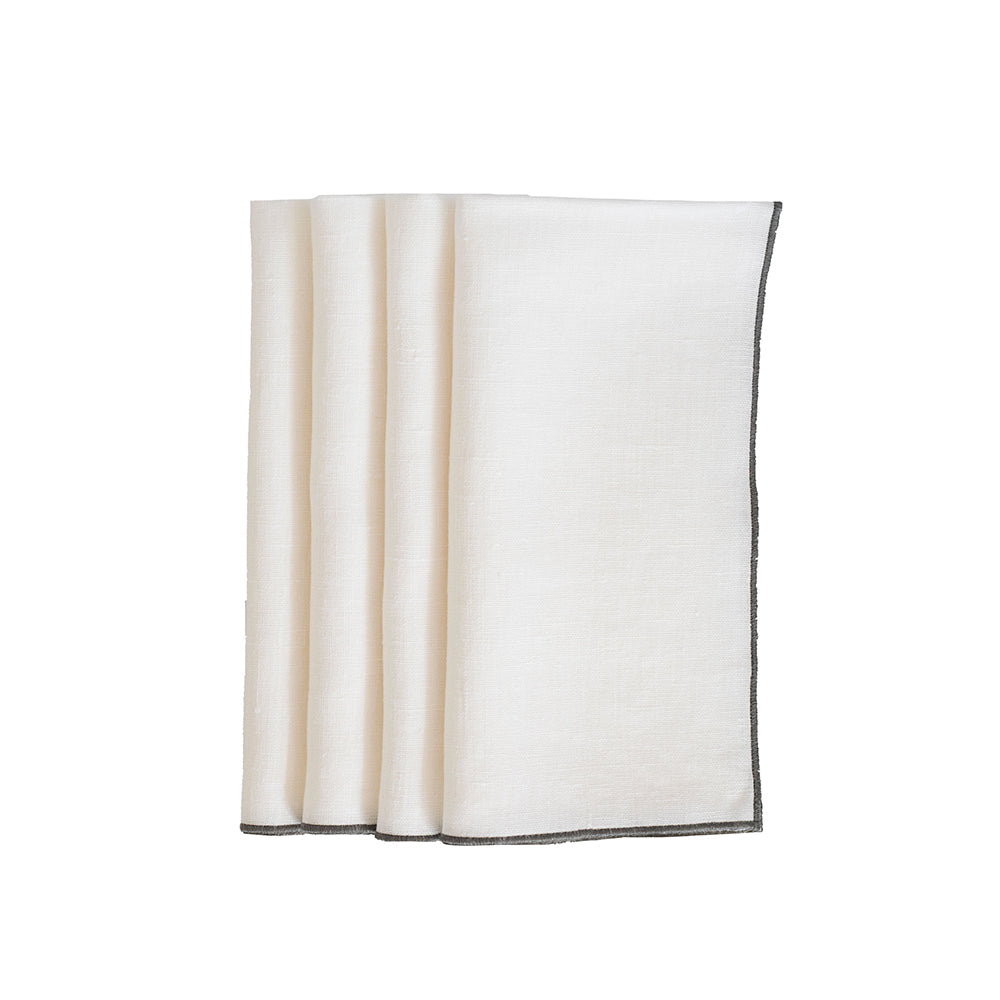 Duet Dinner Napkins - White / Charcoal