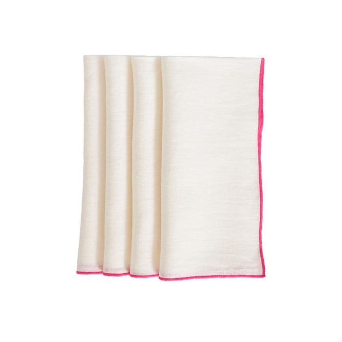 Duet Dinner Napkins - White / Pink