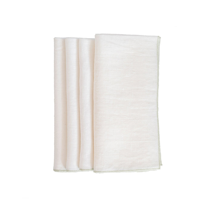 Duet Dinner Napkins - White / Sea Foam