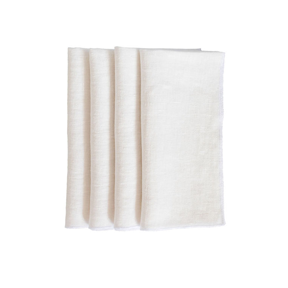 Duet Dinner Napkins - White / White