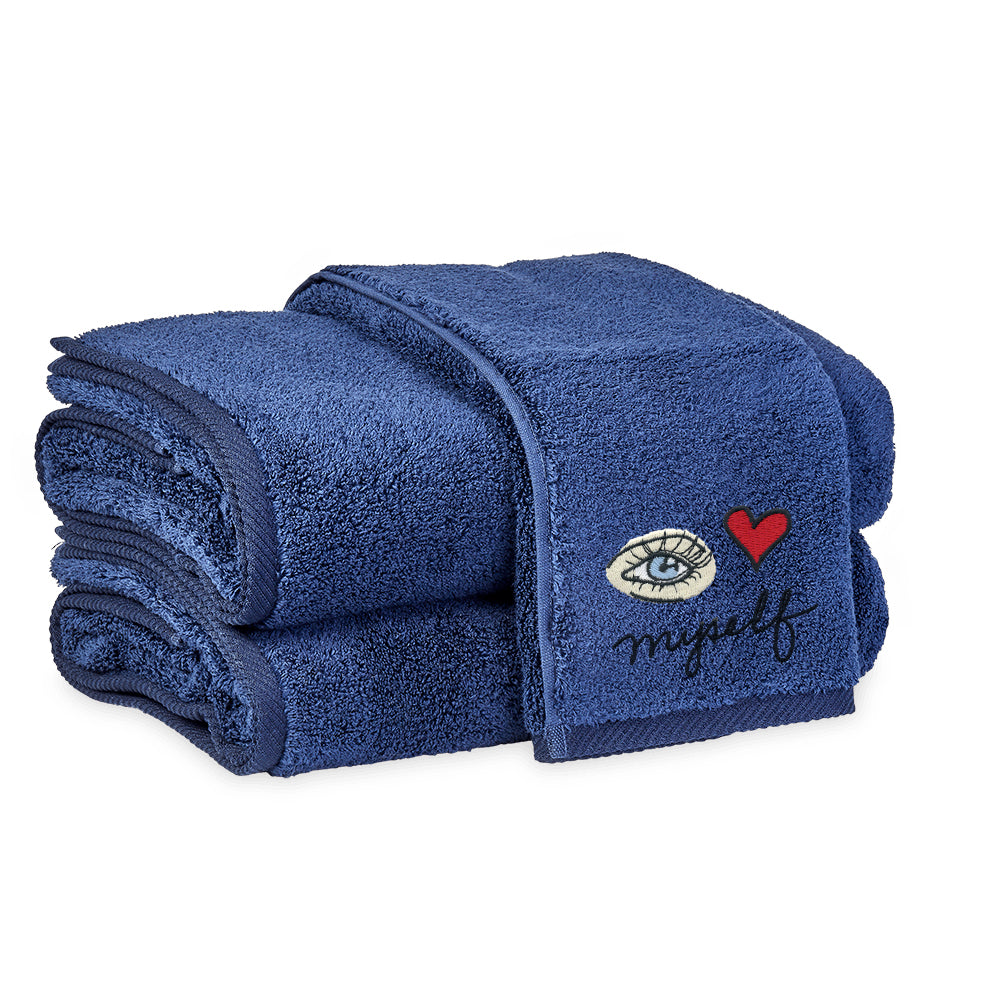 I Love Myself Make-up Remover Hand towel in Navy