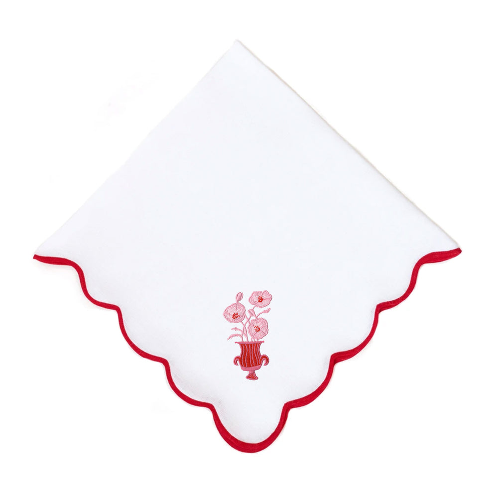 Poppies on Wave Dinner Napkin