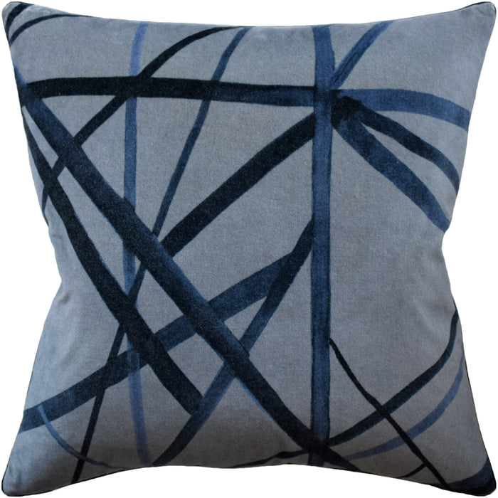 Channels Velvet Pillow - Slate Blue