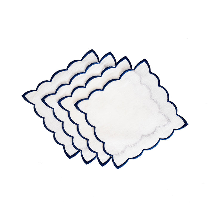 Scallop Cocktail Napkins - White & Blue