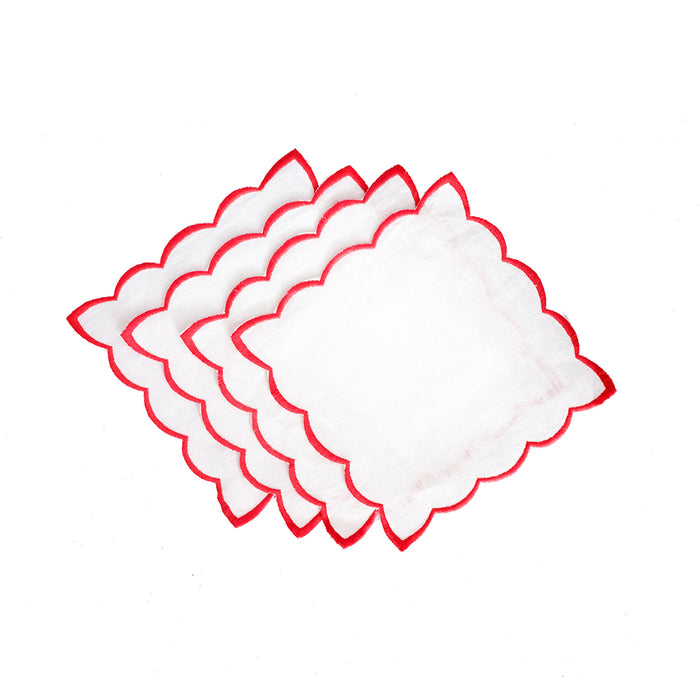 Scallop Cocktail Napkins - White & Coral