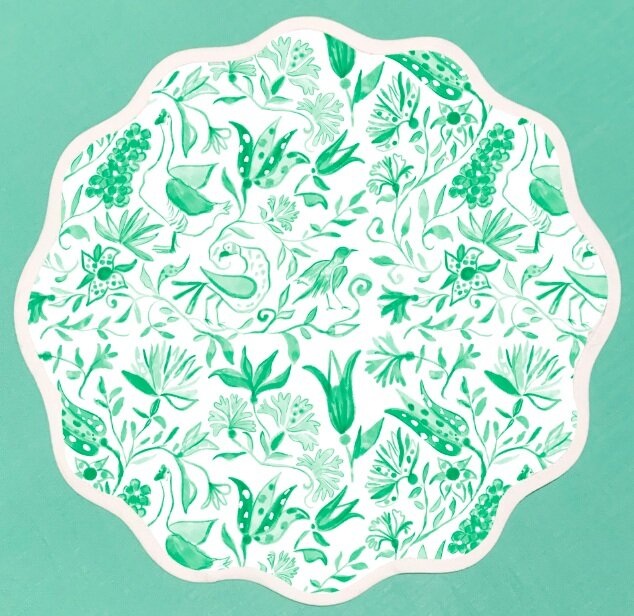 Round Scalloped Placemat | Birds of Paradise-Green