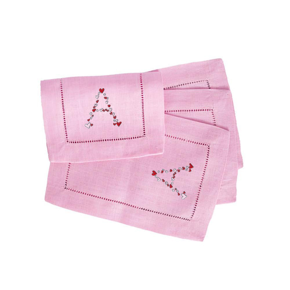 Hearts Cocktail Napkins in Pink