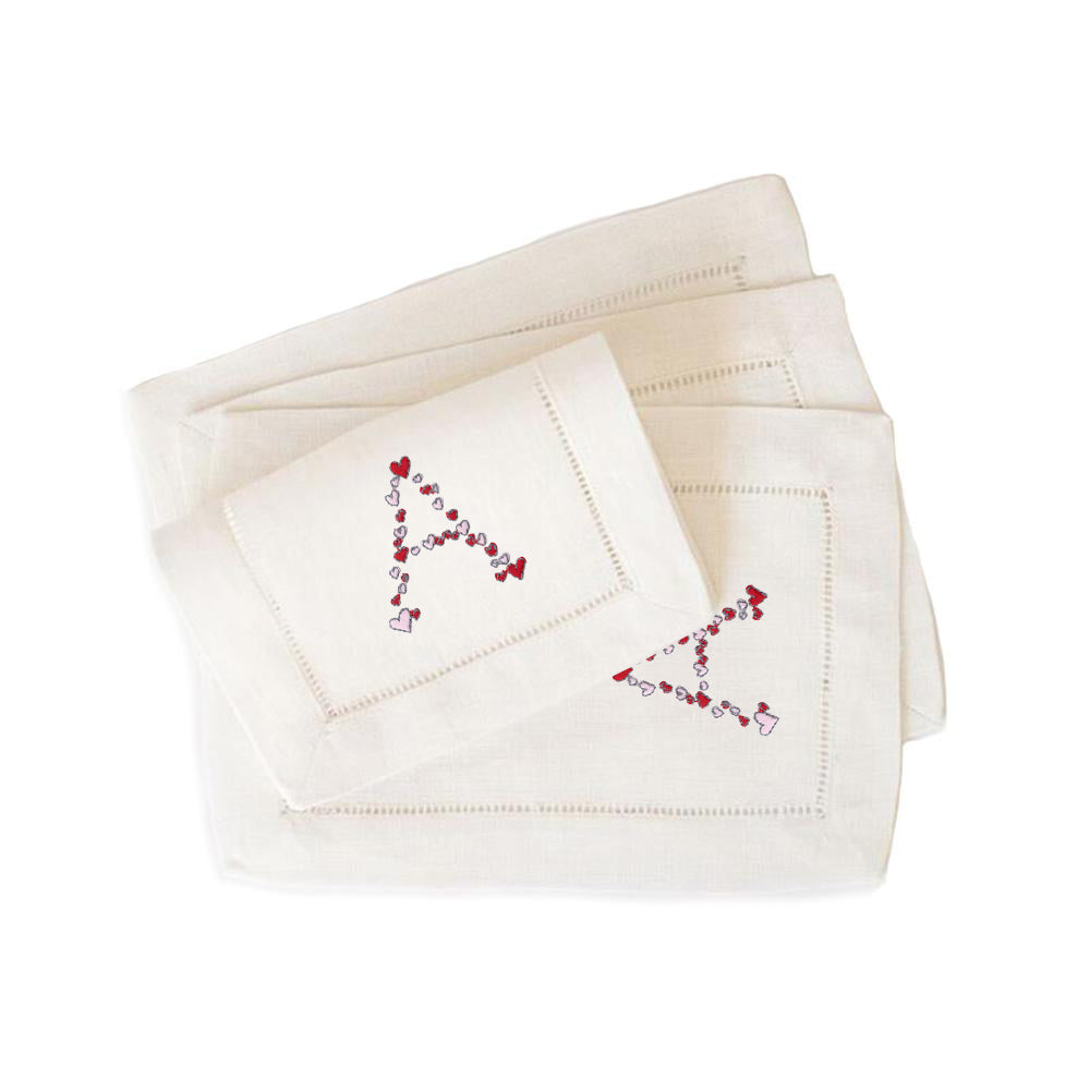 Heart Cocktail Napkins in White