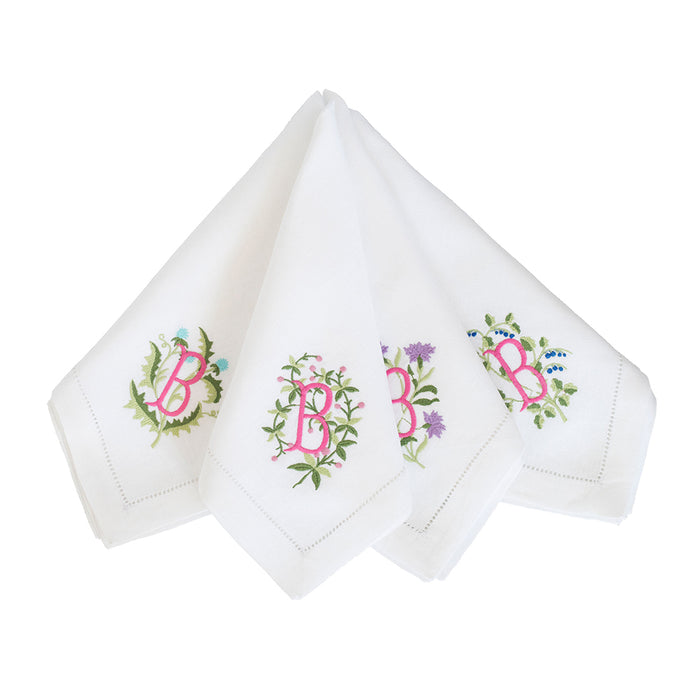 Floral Crest Dinner Napkins - White