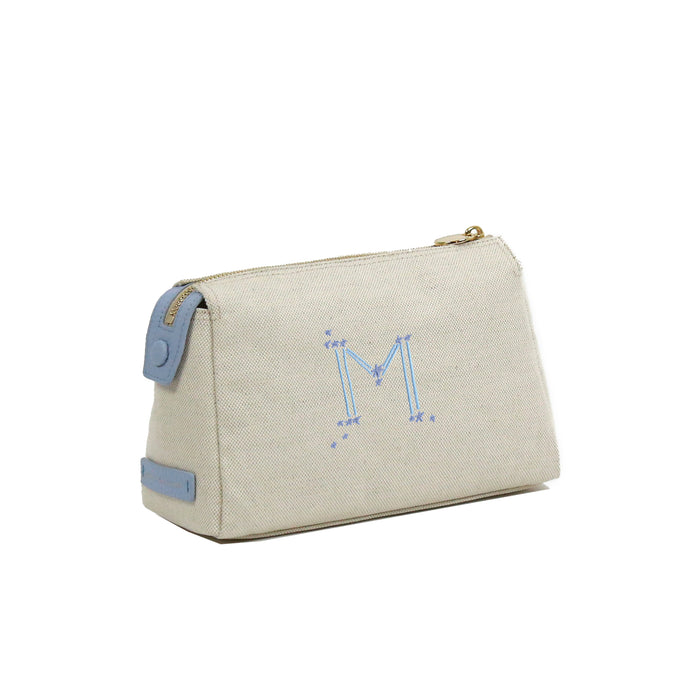 Small Astrology Monogram Canvas Cosmetic Bag - Steele Blue