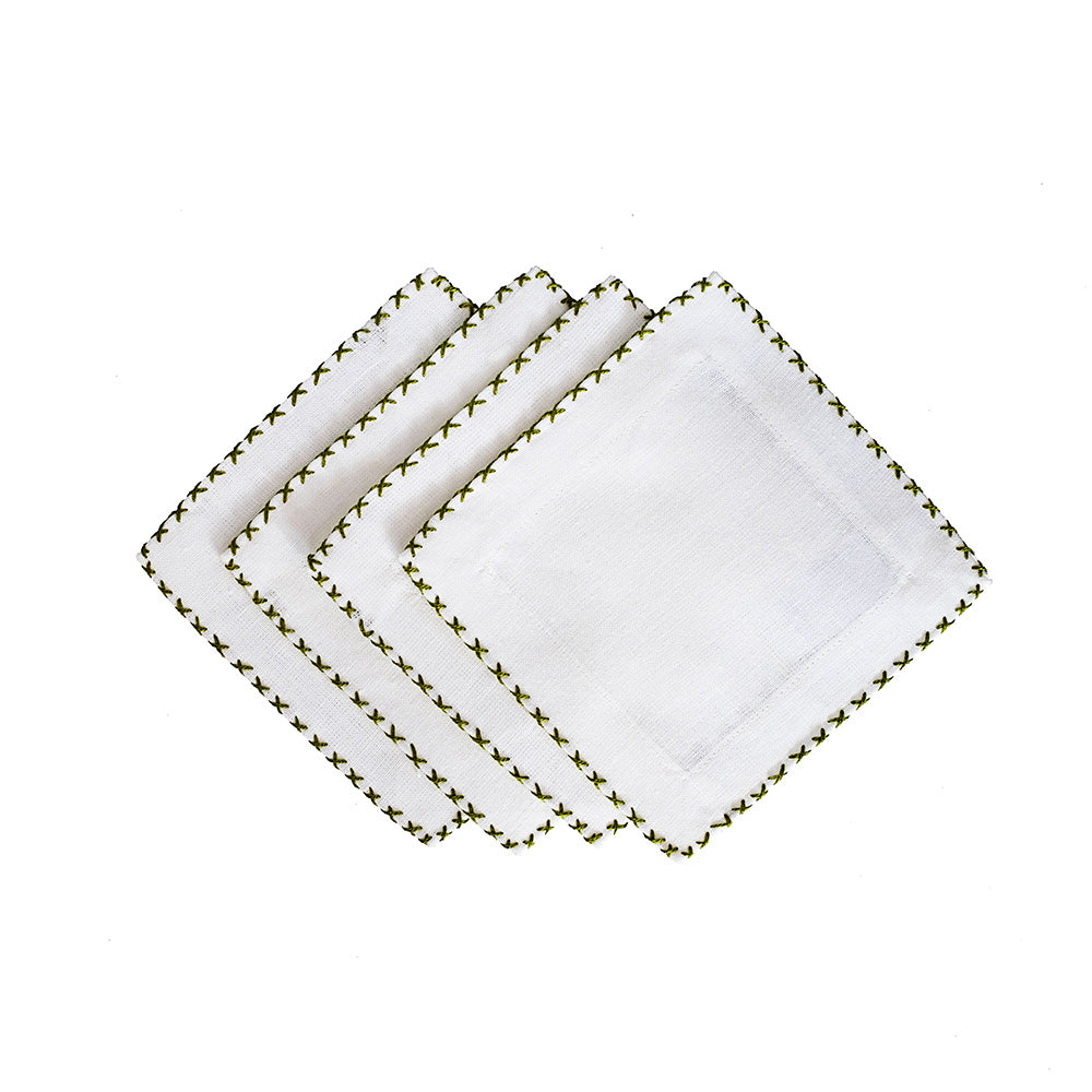 Cross Stitch Cocktail Napkins - Olive