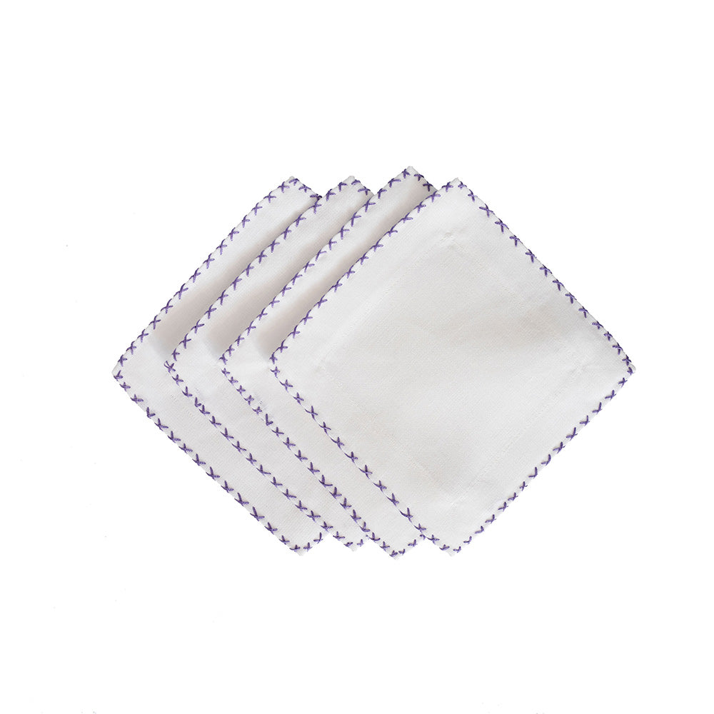 Cross Stitch Cocktail Napkins - Lavender