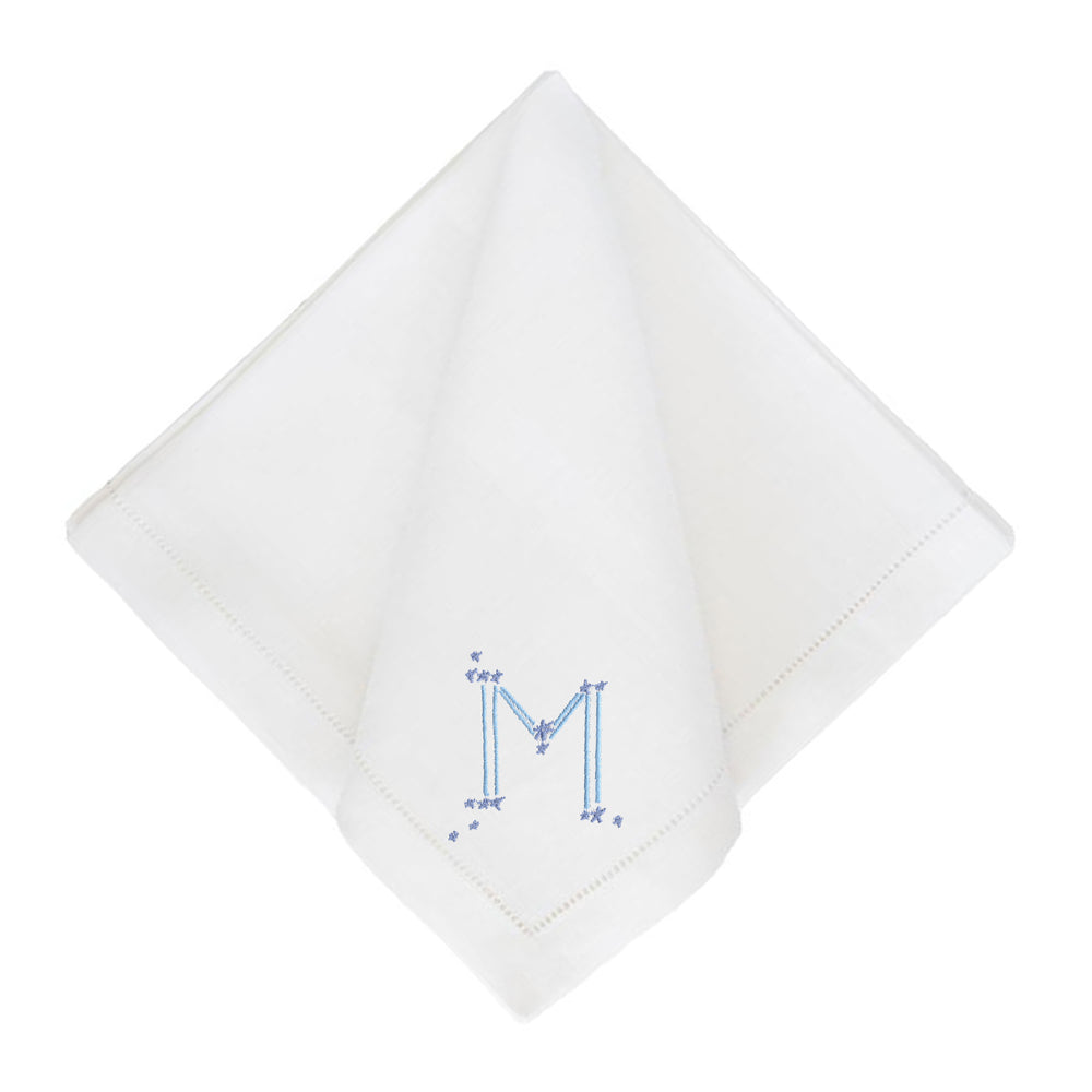 Astrology Monogram White Dinner Napkins