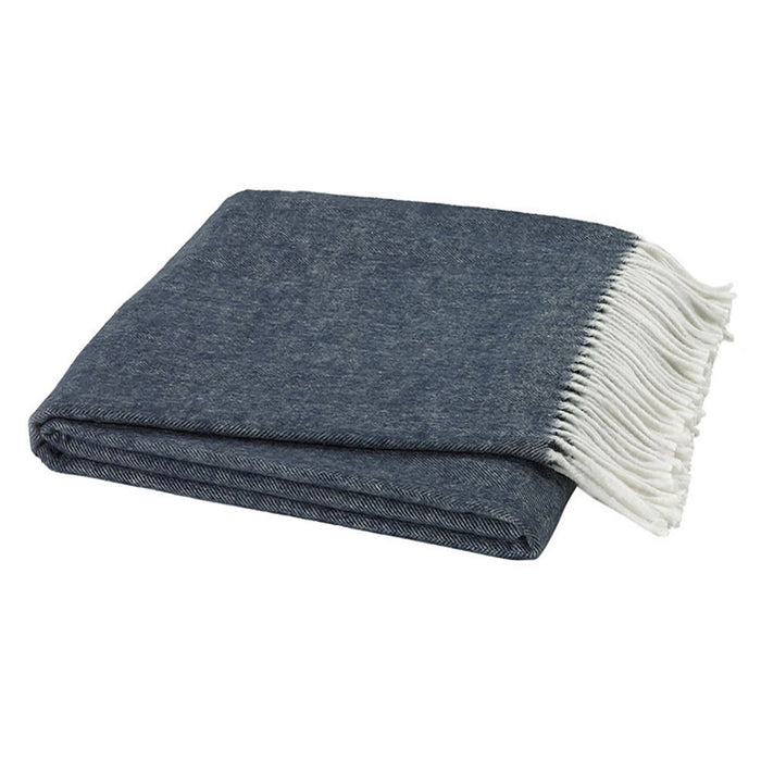 Italian Herringbone Throw - Navy Blue