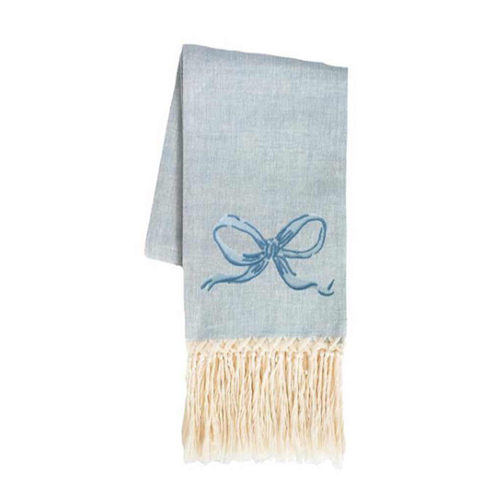 Bow European Hand Towel - Woad Blue