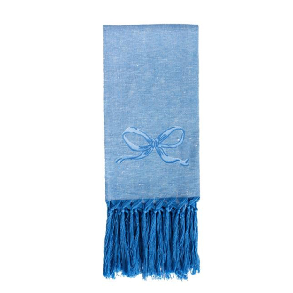 Bow European Small Hand Towel - Blue on Blue