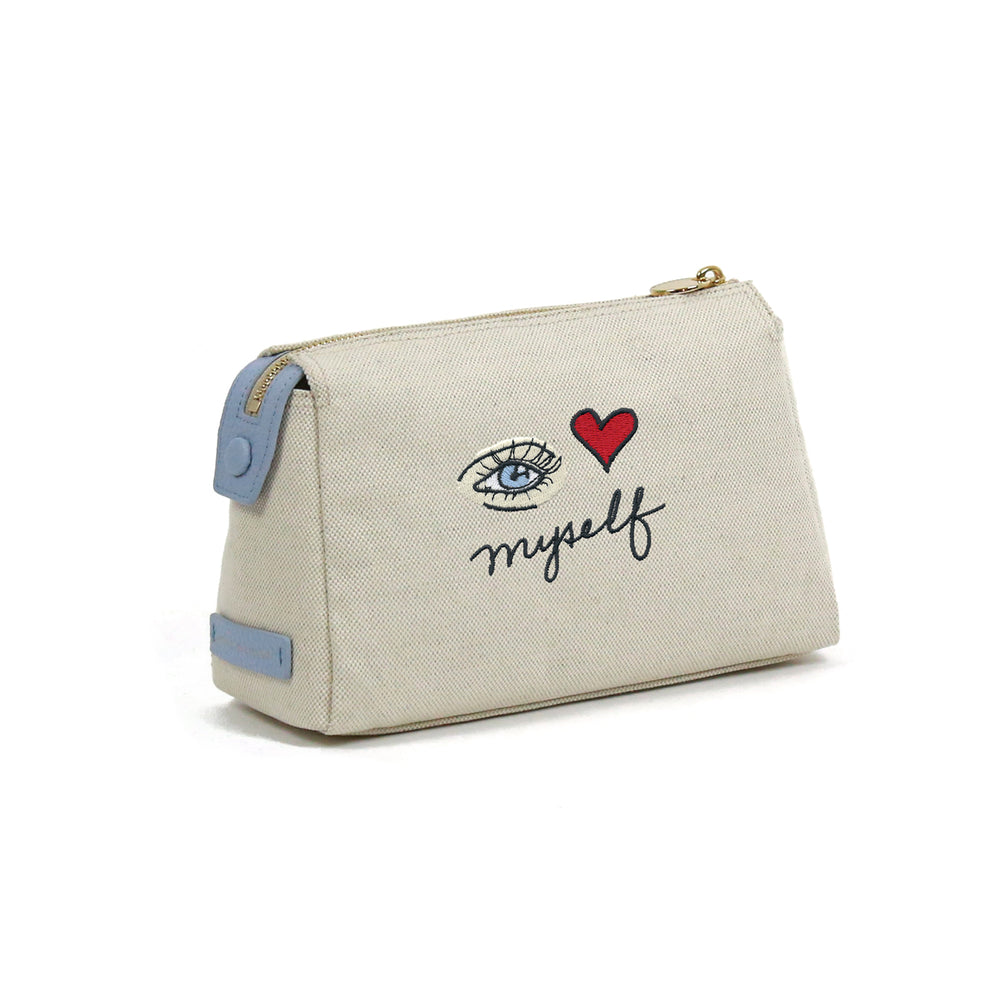 Small I Love Myself Canvas Cosmetic Bag