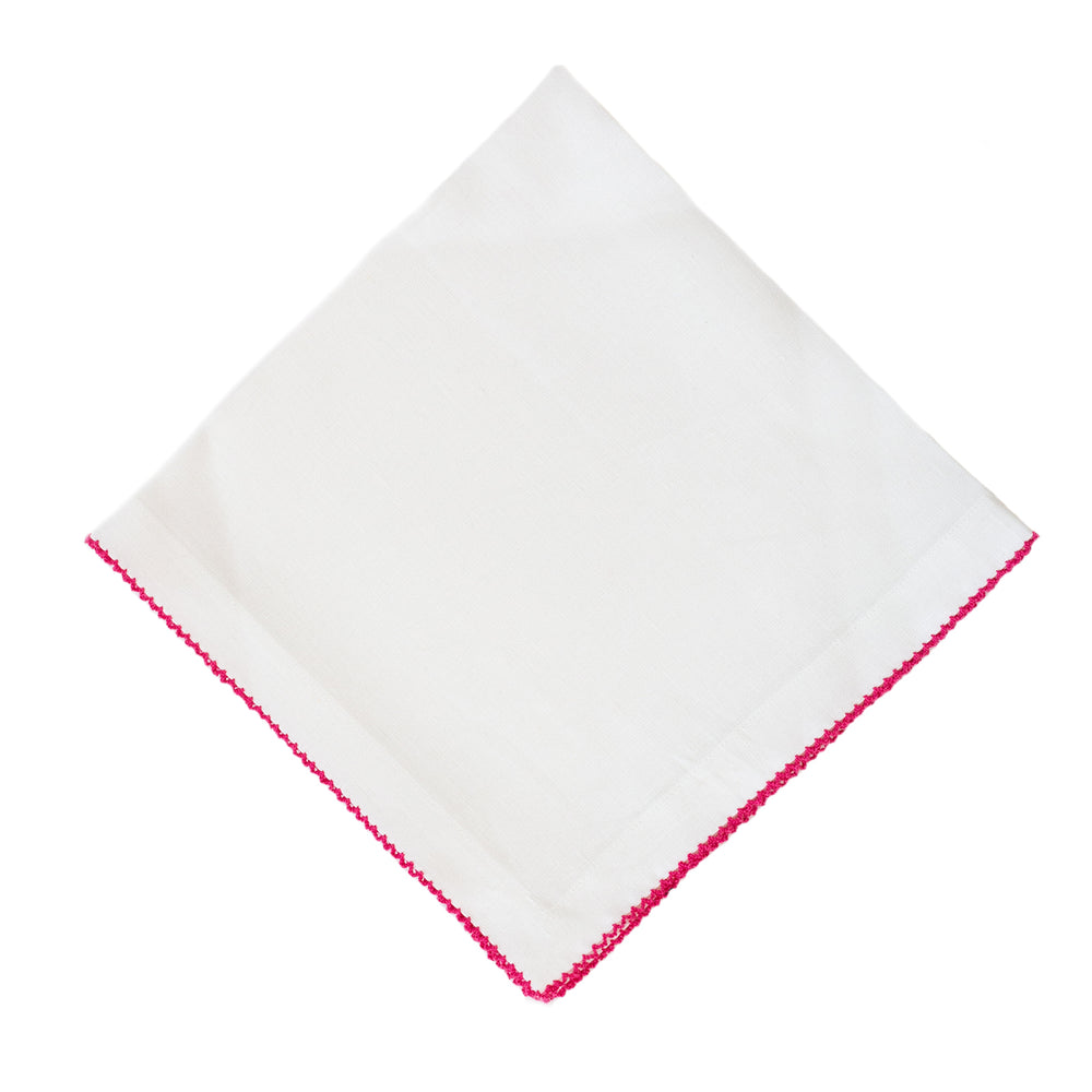 Hot Pink Pico Edge Dinner Napkin