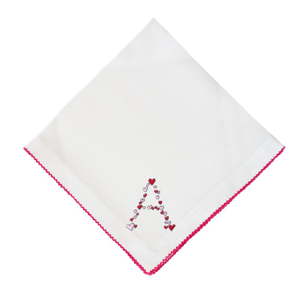Pink Pico Edge Heart Dinner Napkins