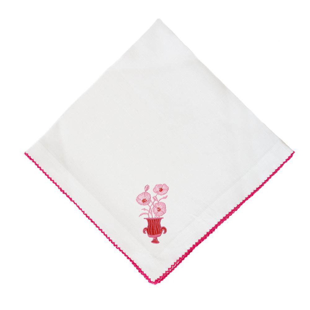 Poppies on Pico Edge Dinner Napkin
