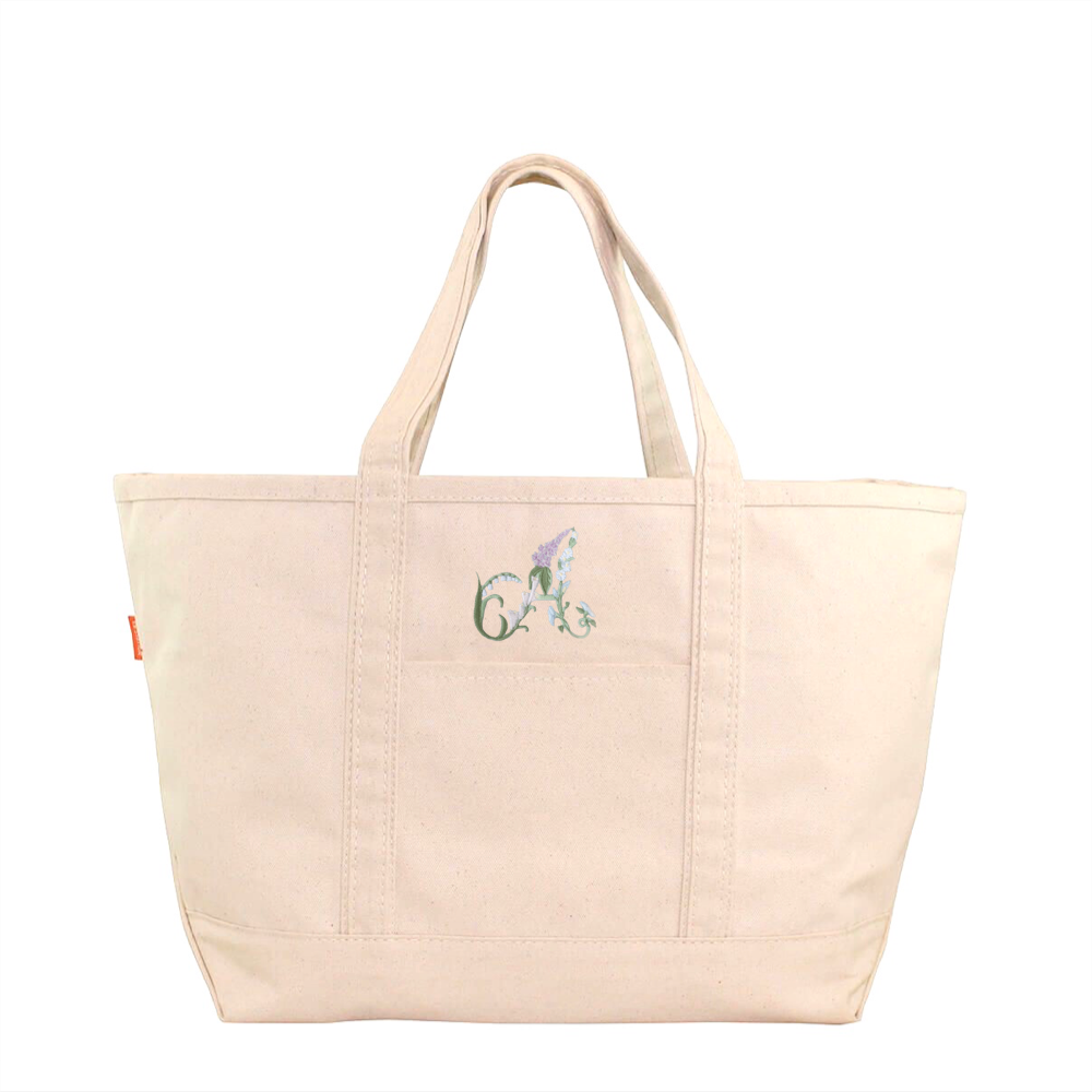Floral Alphabet Boat Tote - Natural
