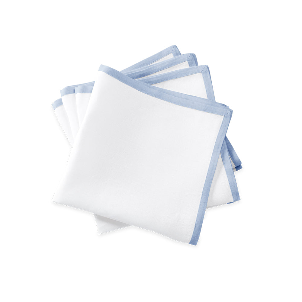 Border Dinner Napkins - White / Ice Blue
