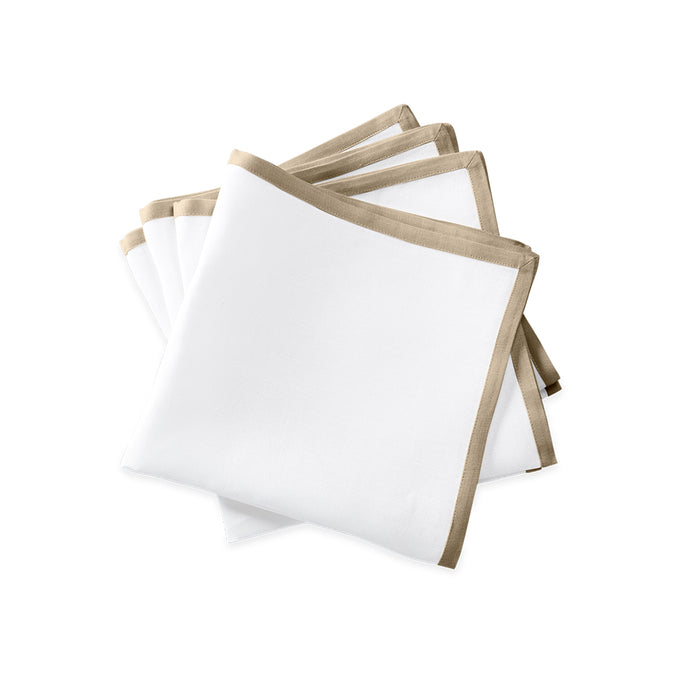 Border Dinner Napkins - White & Oat