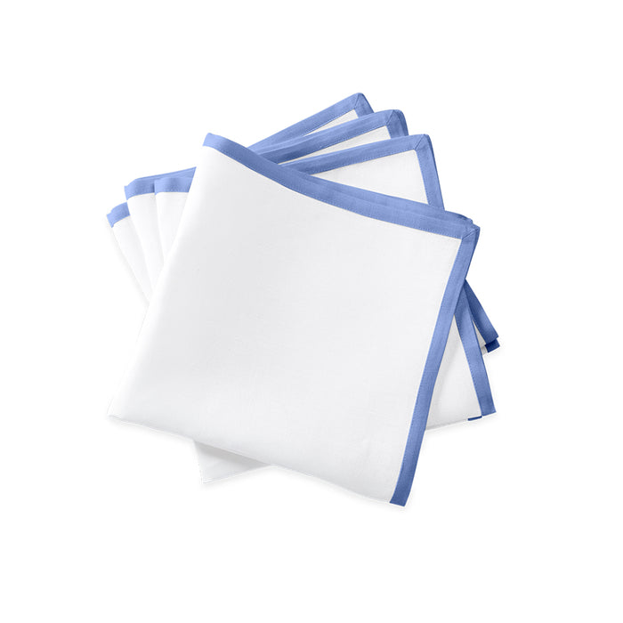 Border Dinner Napkins - White / Sky Blue