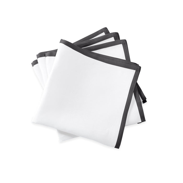 Border Dinner Napkins - White / Smoke Grey