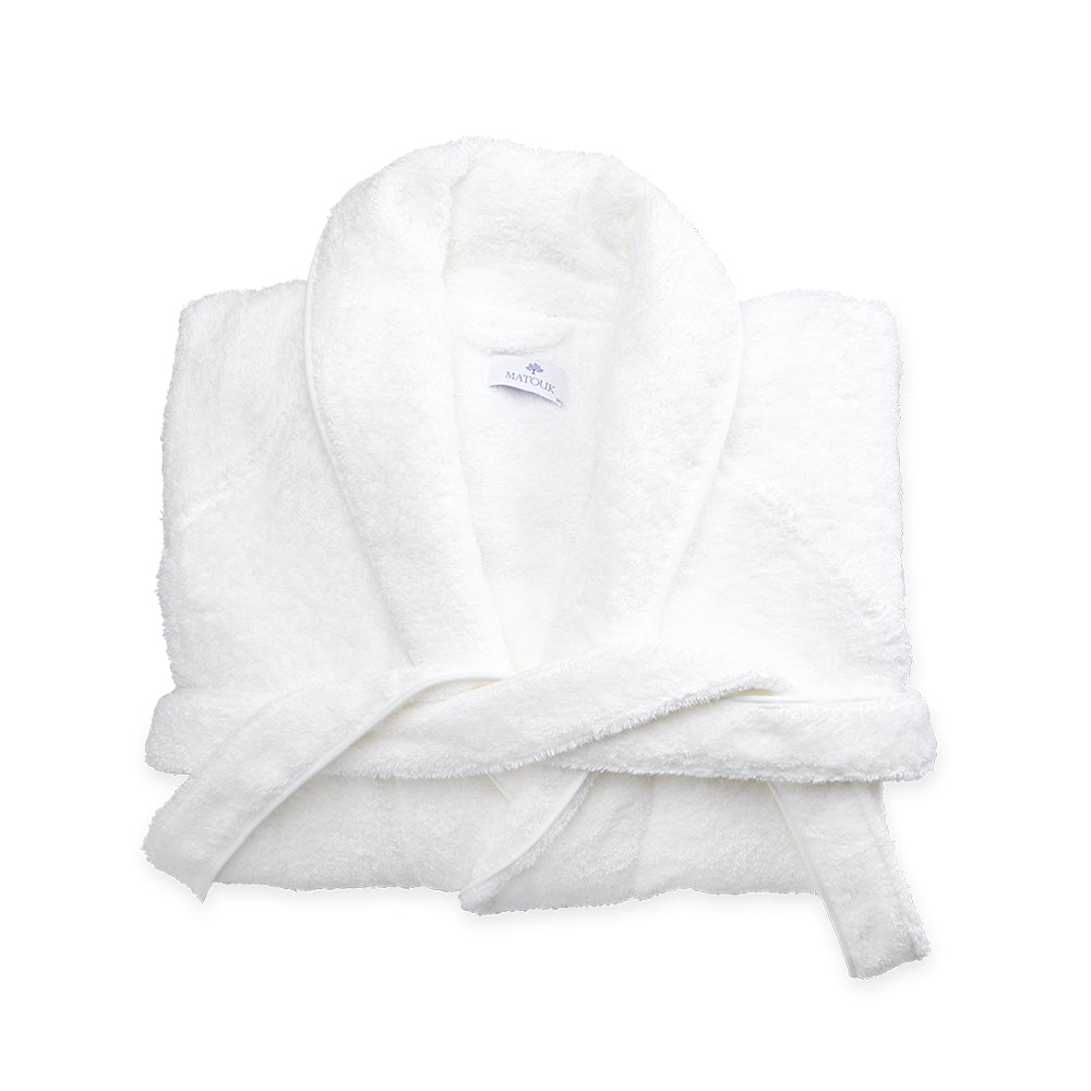 Cairo Bath Robe - White & White
