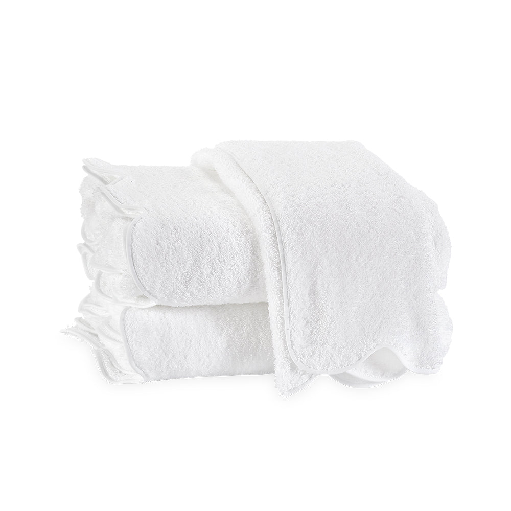 Cairo Scallop Edge Bath Towel - White & White