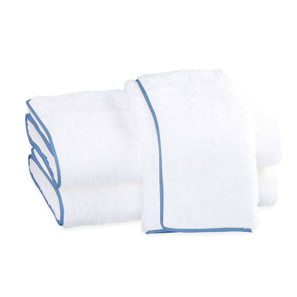 Cairo Straight Edge Bath Towel - White & Azure